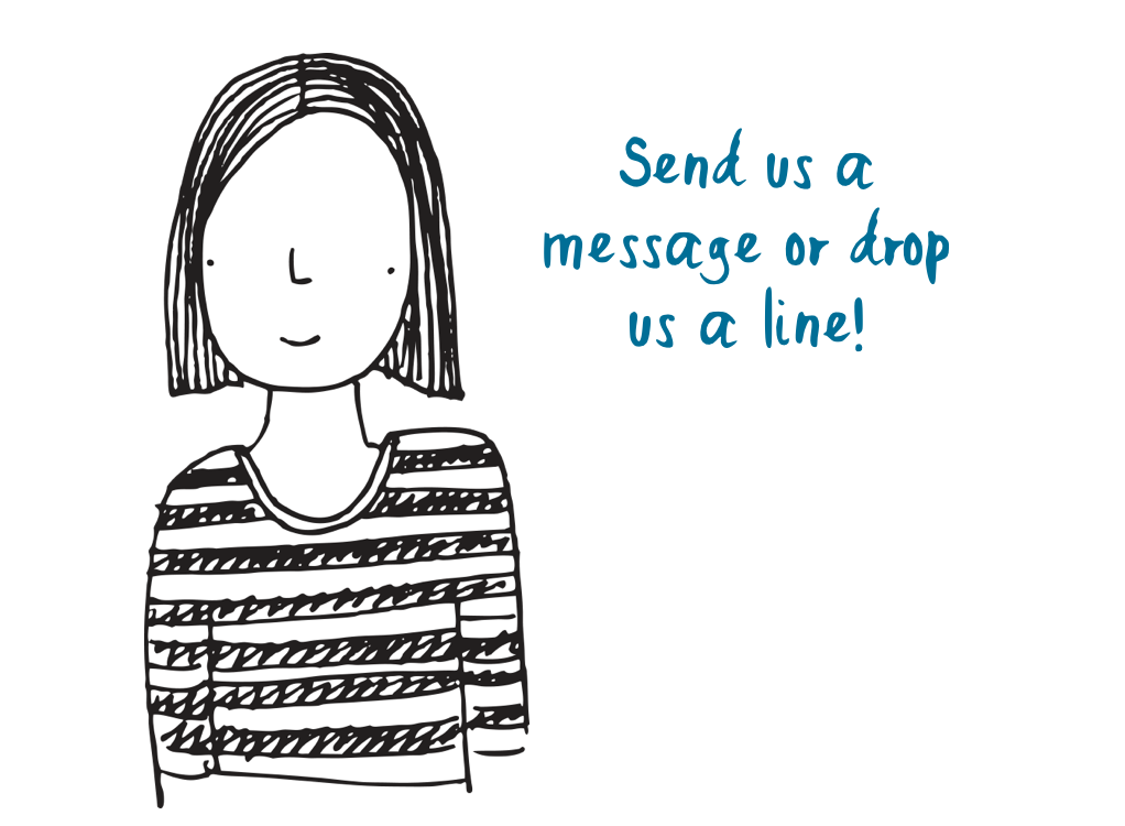 Illustration of woman with speech bubble 'Send us an image or drop us a line!'